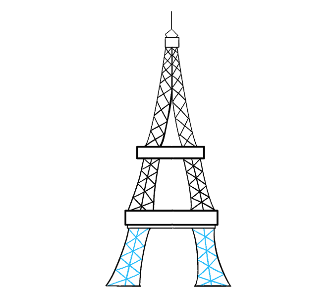 How to draw the eiffel tower Step: 16