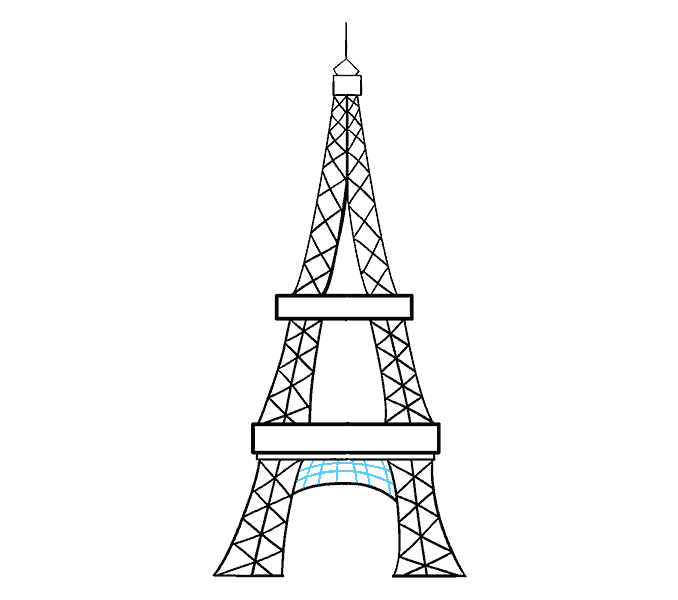 How to draw the eiffel tower Step: 18