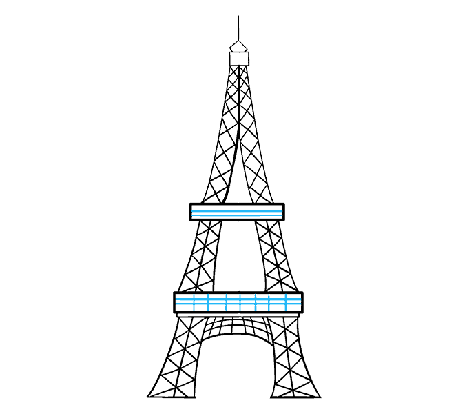 How to draw the eiffel tower Step: 19