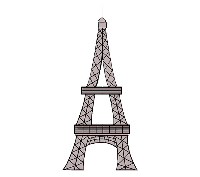 How to Draw Eiffel Tower: Step 20