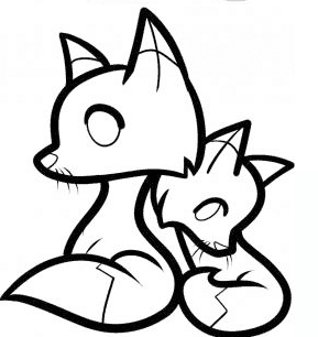 Drawing tutorial: How to Draw a Mother Fox with a Baby