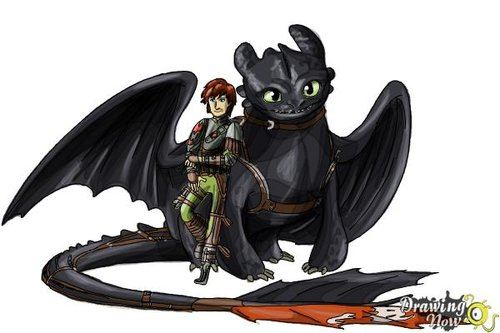 Drawing tutorial: How to Draw Hiccup and Toothless