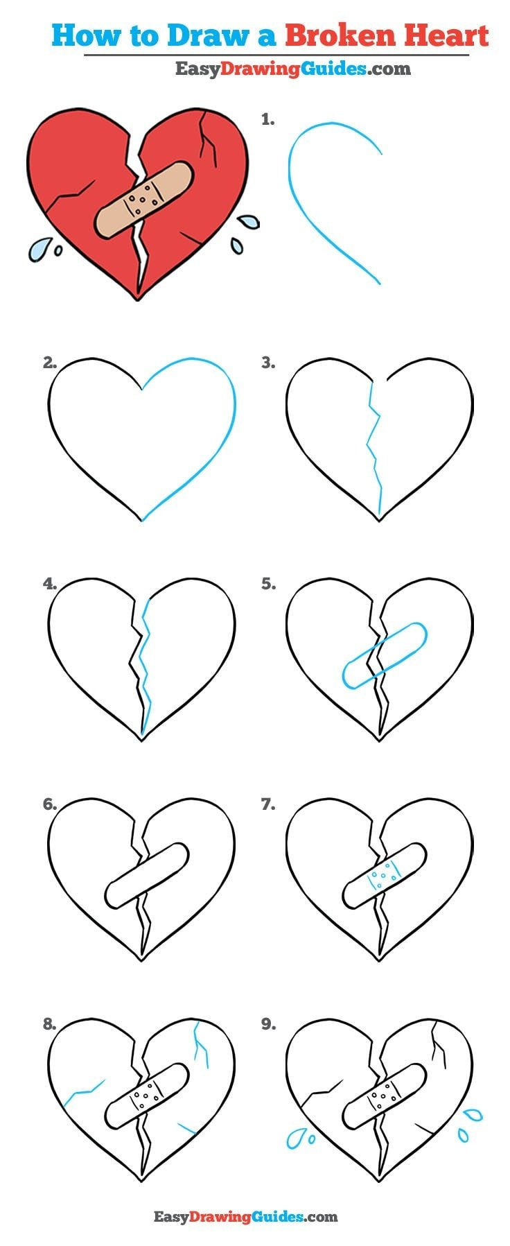 Broken Heart Really Easy Drawing Tutorial