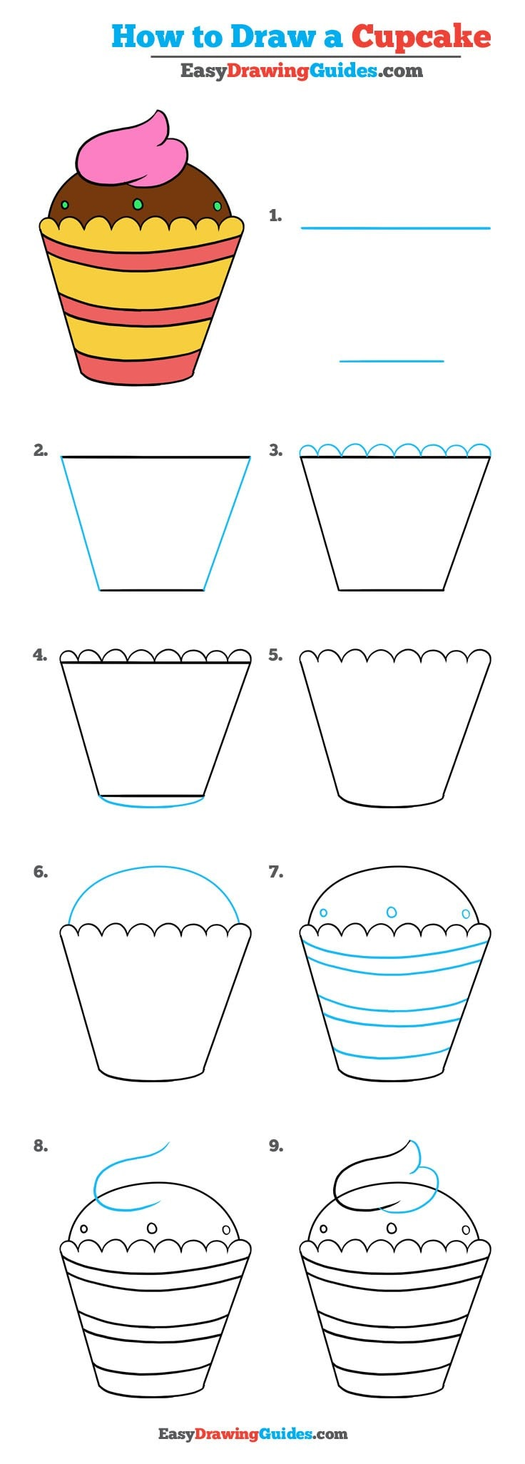 How to Draw a Cupcake - Really Easy Drawing Tutorial