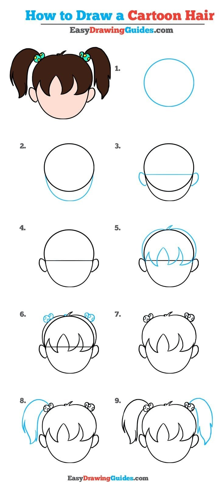 How To Draw Cartoon Hair Really Easy Drawing Tutorial