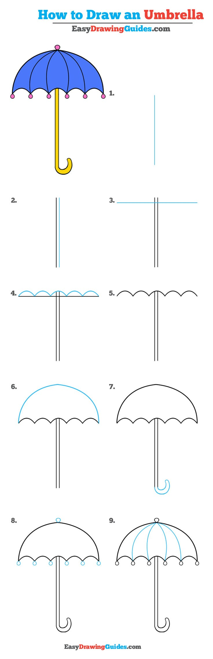 How to Draw an Umbrella - Really Easy Drawing Tutorial