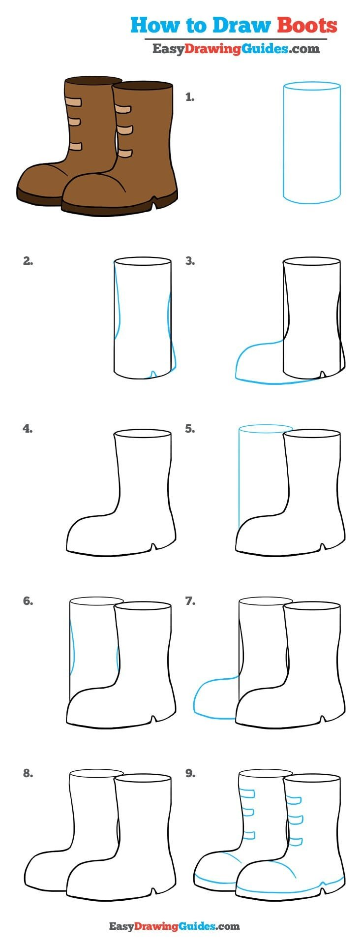 How to Draw Boots , Really Easy Drawing Tutorial