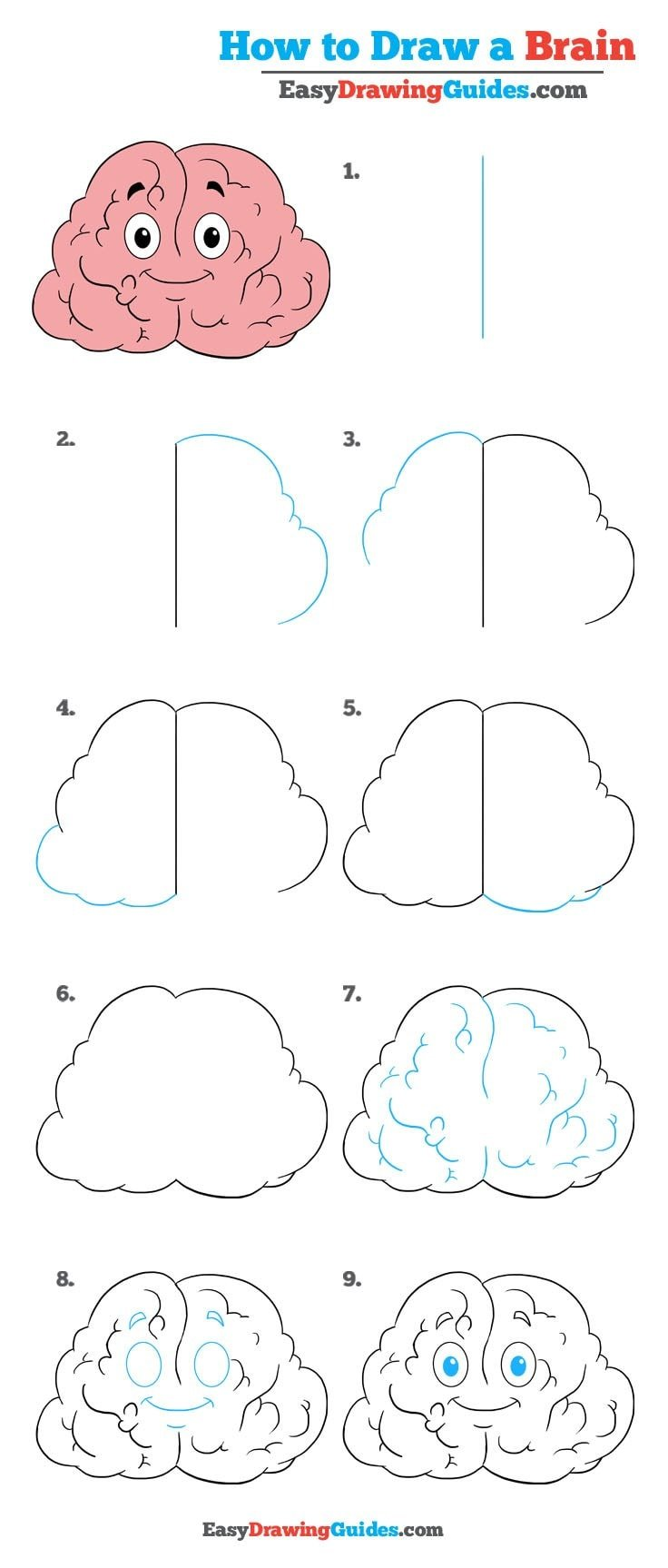How to Draw a Brain - Really Easy Drawing Tutorial
