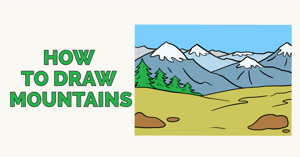 How To Draw Mountains Really Easy Drawing Tutorial Draw a jagged line from one side of the picture, allowing it to meet the horizon line on the other. how to draw mountains really easy