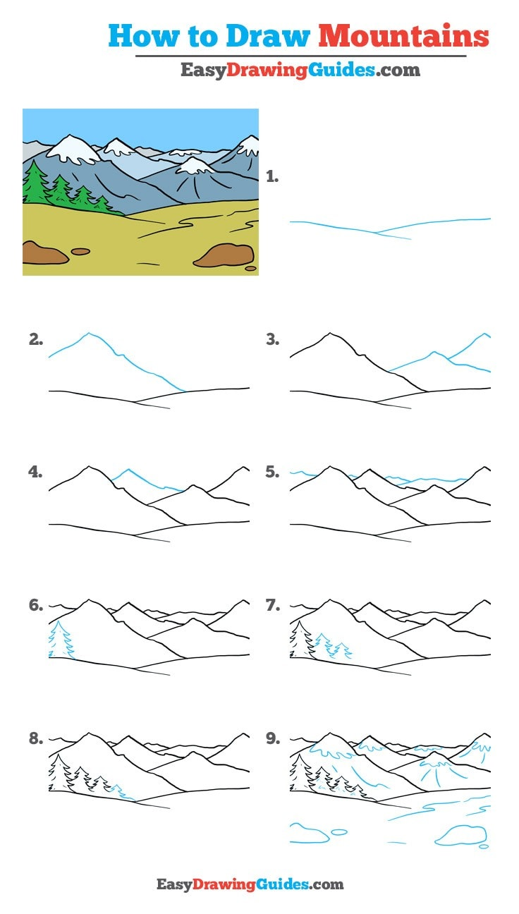 How to Draw Mountains - Really Easy Drawing Tutorial