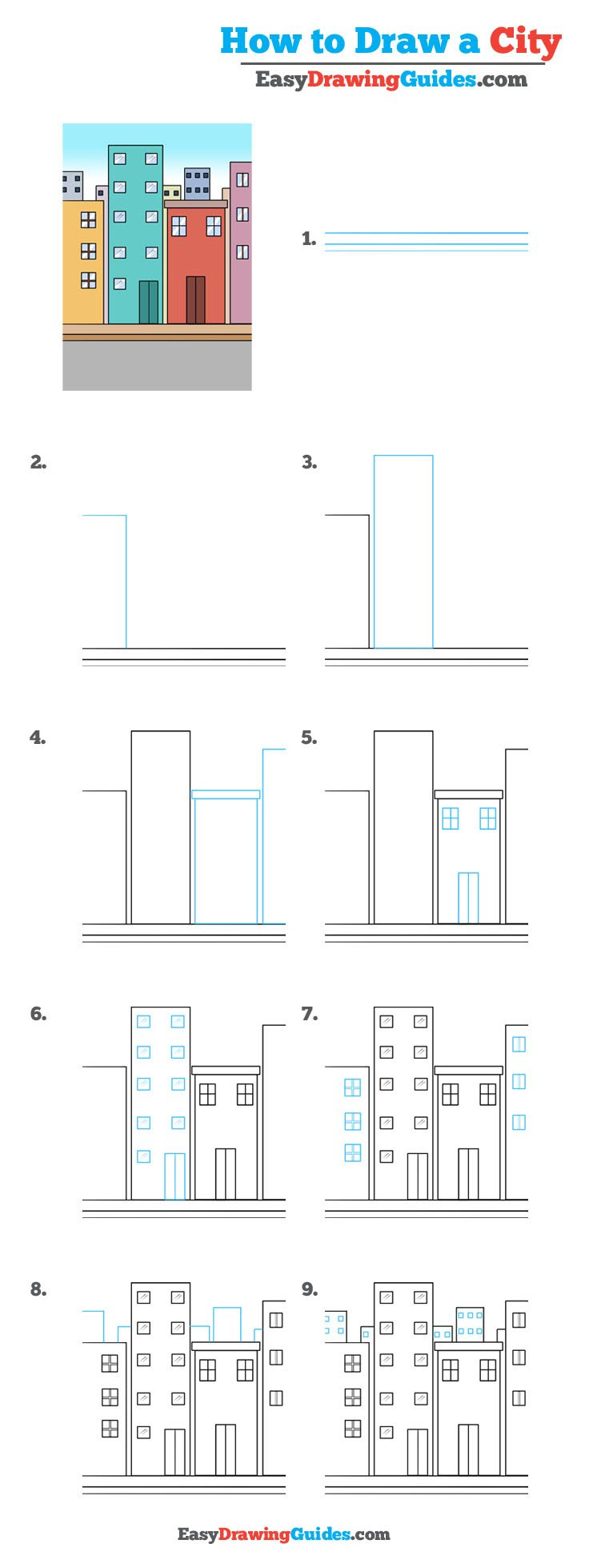 How to Draw a City - step by step drawing tutorial
