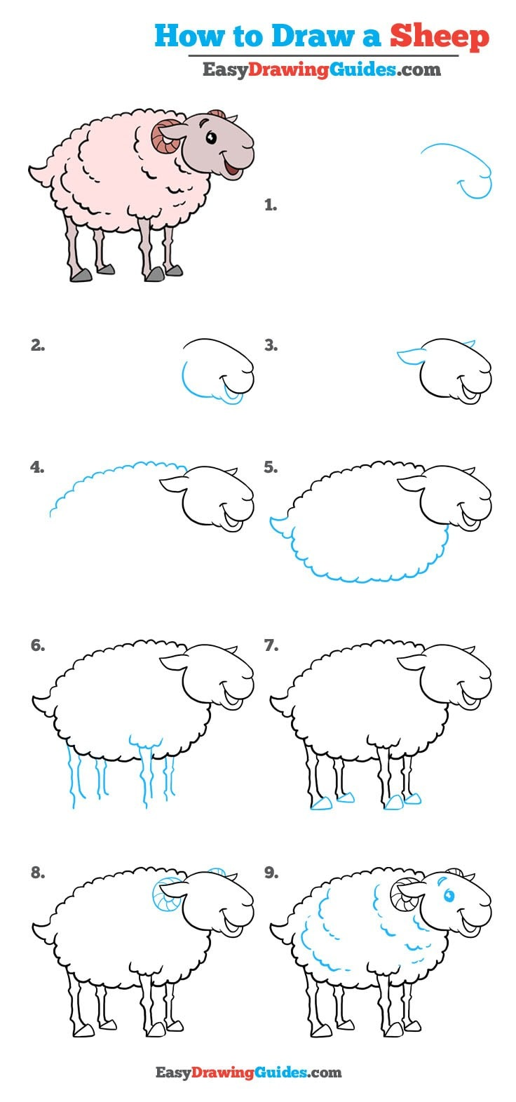 How To Draw A Sheep Really Easy Drawing Tutorial