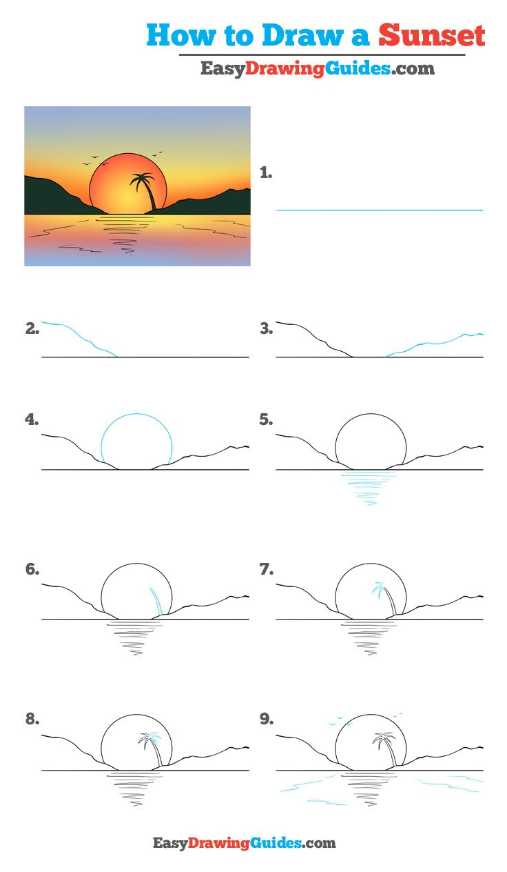 How to Draw a Sunset - Really Easy Drawing Tutorial