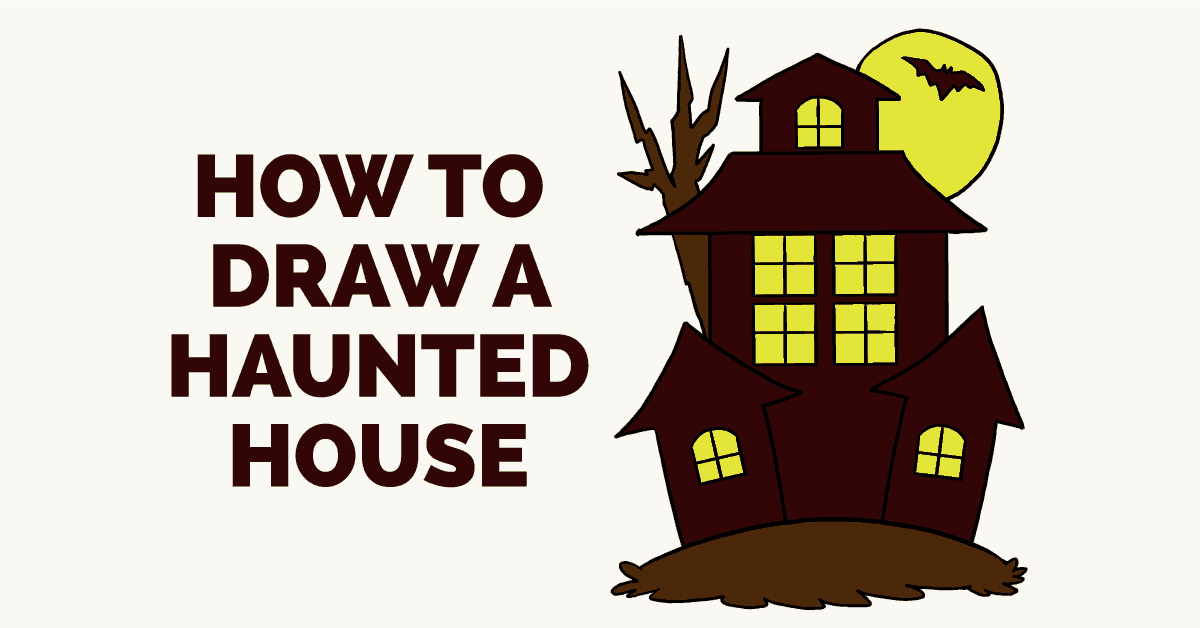 How to draw a haunted house really easy drawing tutorial Haunted house drawing ideas