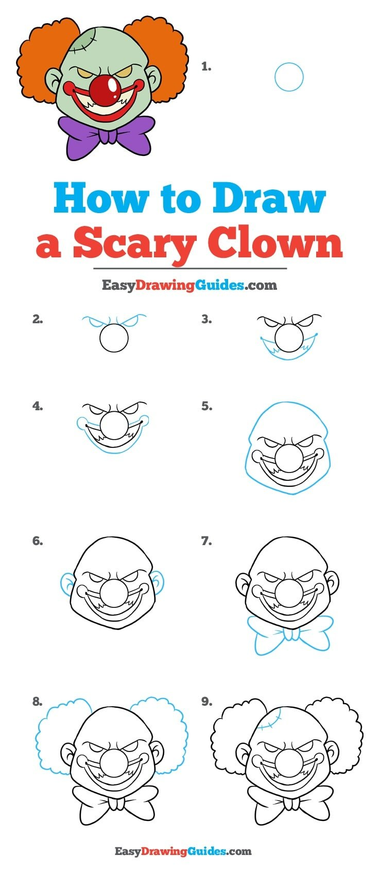 Scary Clown Drawing: Really Easy Drawing Tutorial
