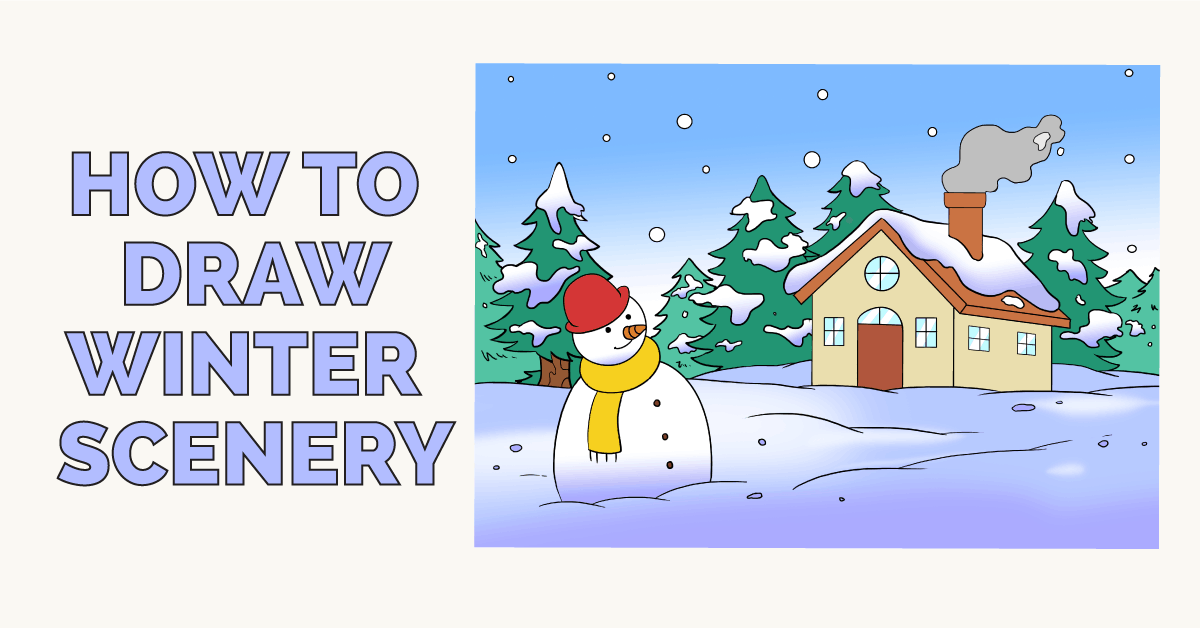 How To Draw A Winter Scenery Really Easy Drawing Tutorial