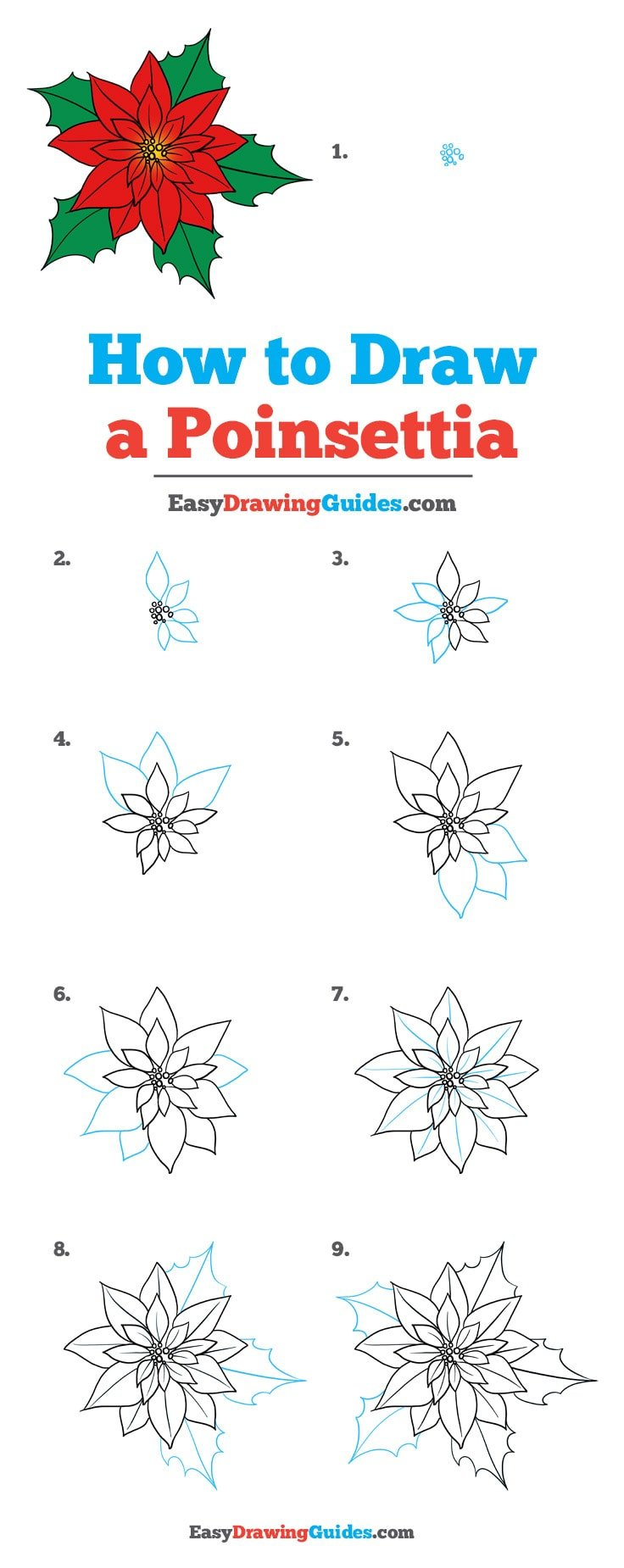 How To Draw A Poinsettia Really Easy Drawing Tutorial