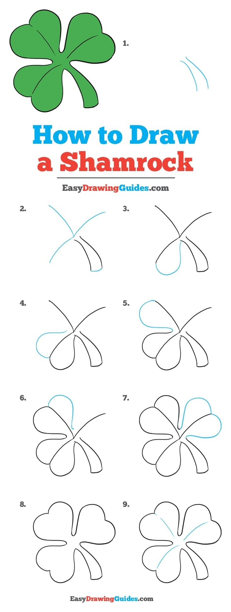 How to Draw a Shamrock: Step by step drawing tutorial