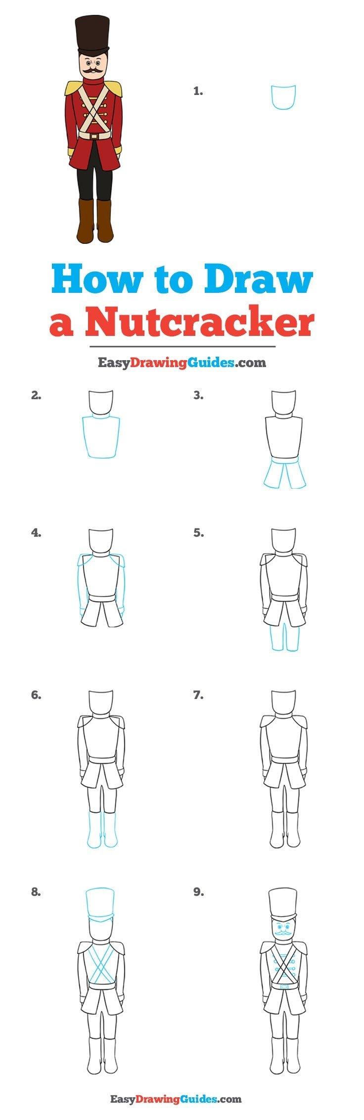 How to draw a nutcracker step by step tutorial