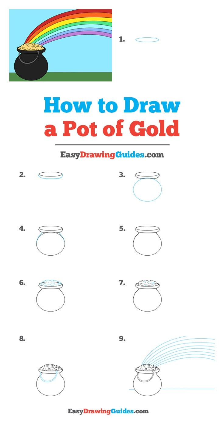 How to draw a pot of gold step by step tutorial