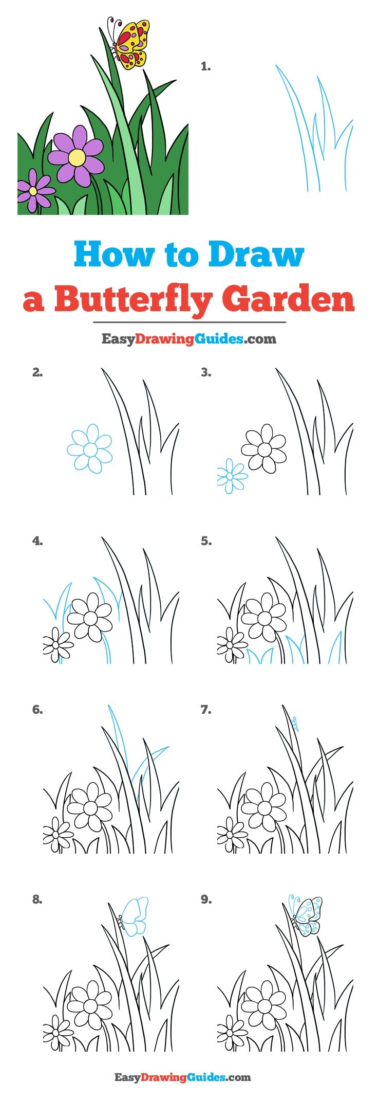 How to Draw Butterfly Garden