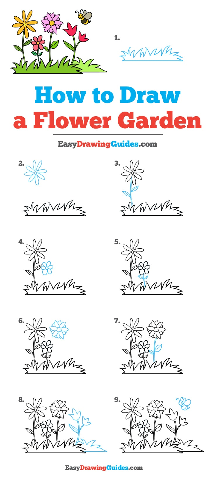How to Draw a Flower Garden: Step by Step Tutorial
