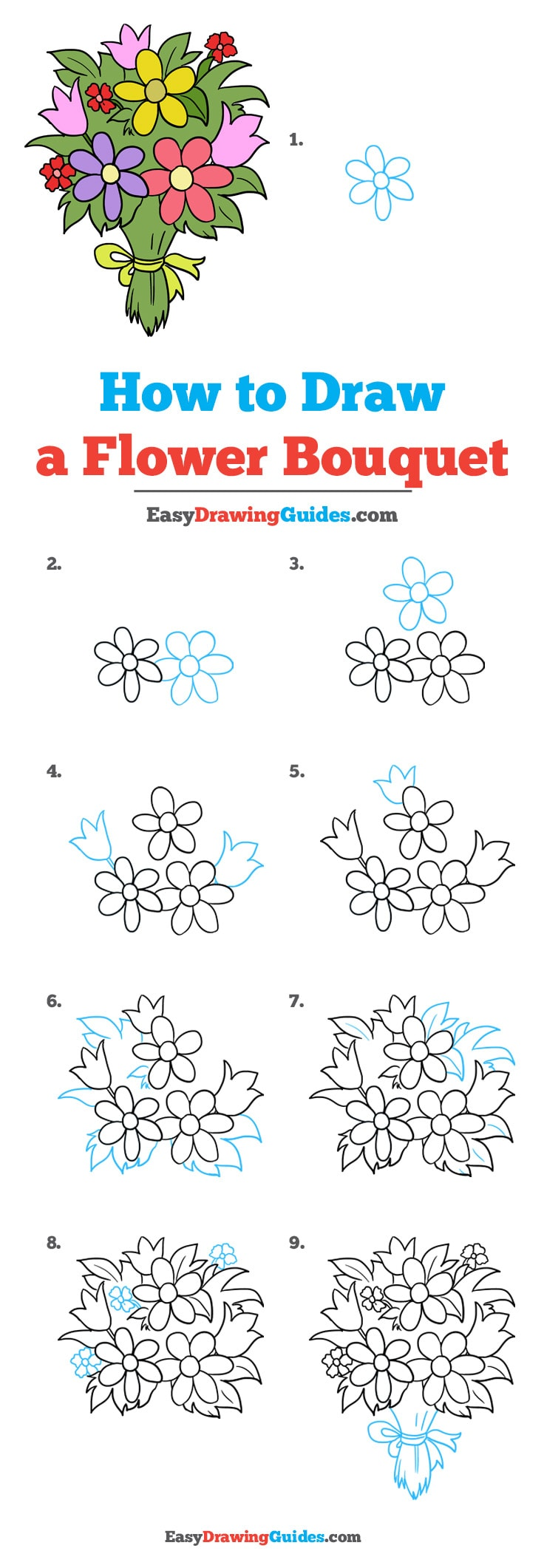 How To Draw A Flower Bouquet Really Easy Drawing Tutorial