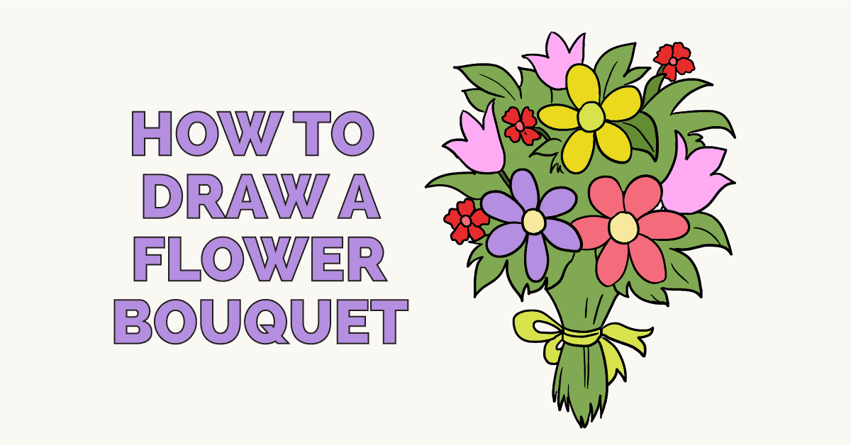 How to Draw a Flower Bouquet , Really Easy Drawing Tutorial