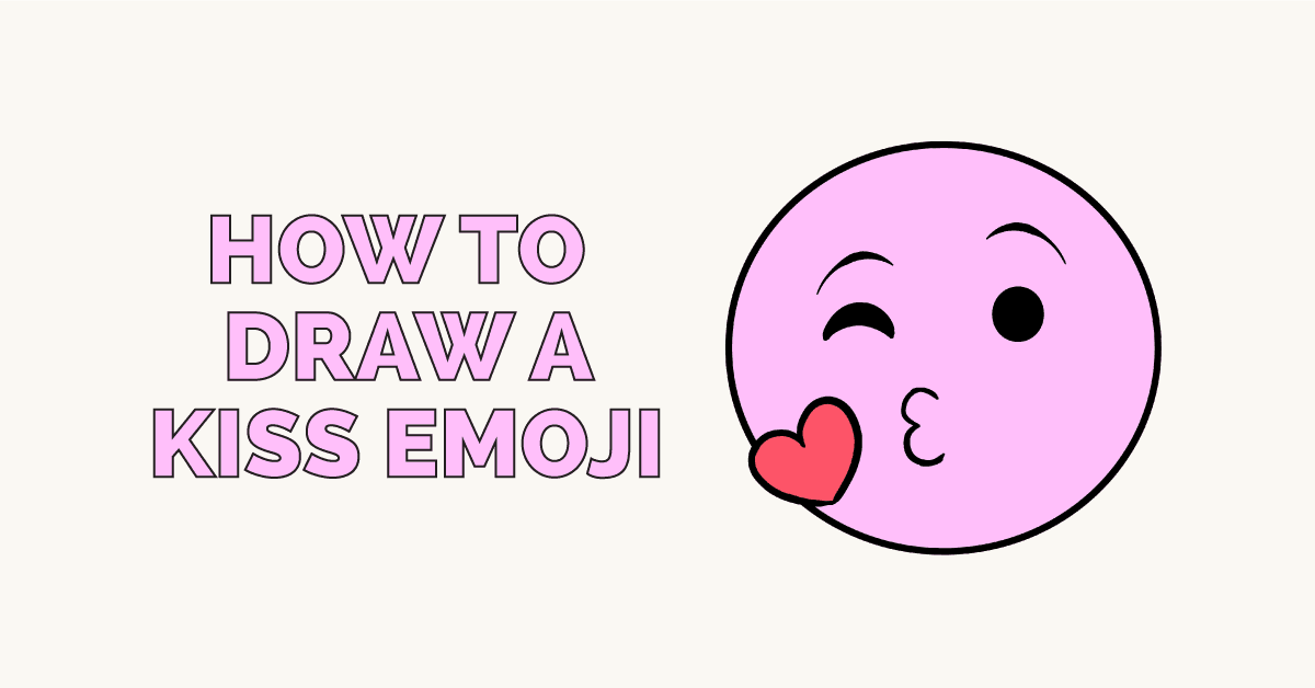 How To Draw A Kiss Emoji Really Easy Drawing Tutorial