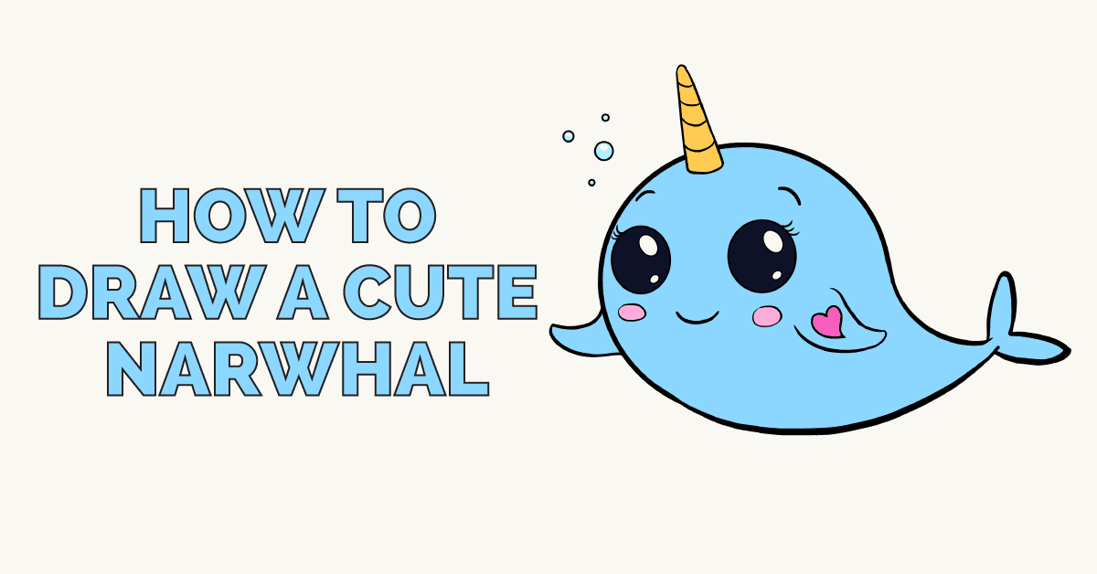 How to Draw a Cute Narwhal - Really Easy Drawing Tutorial Cute Baby Whale Clipart