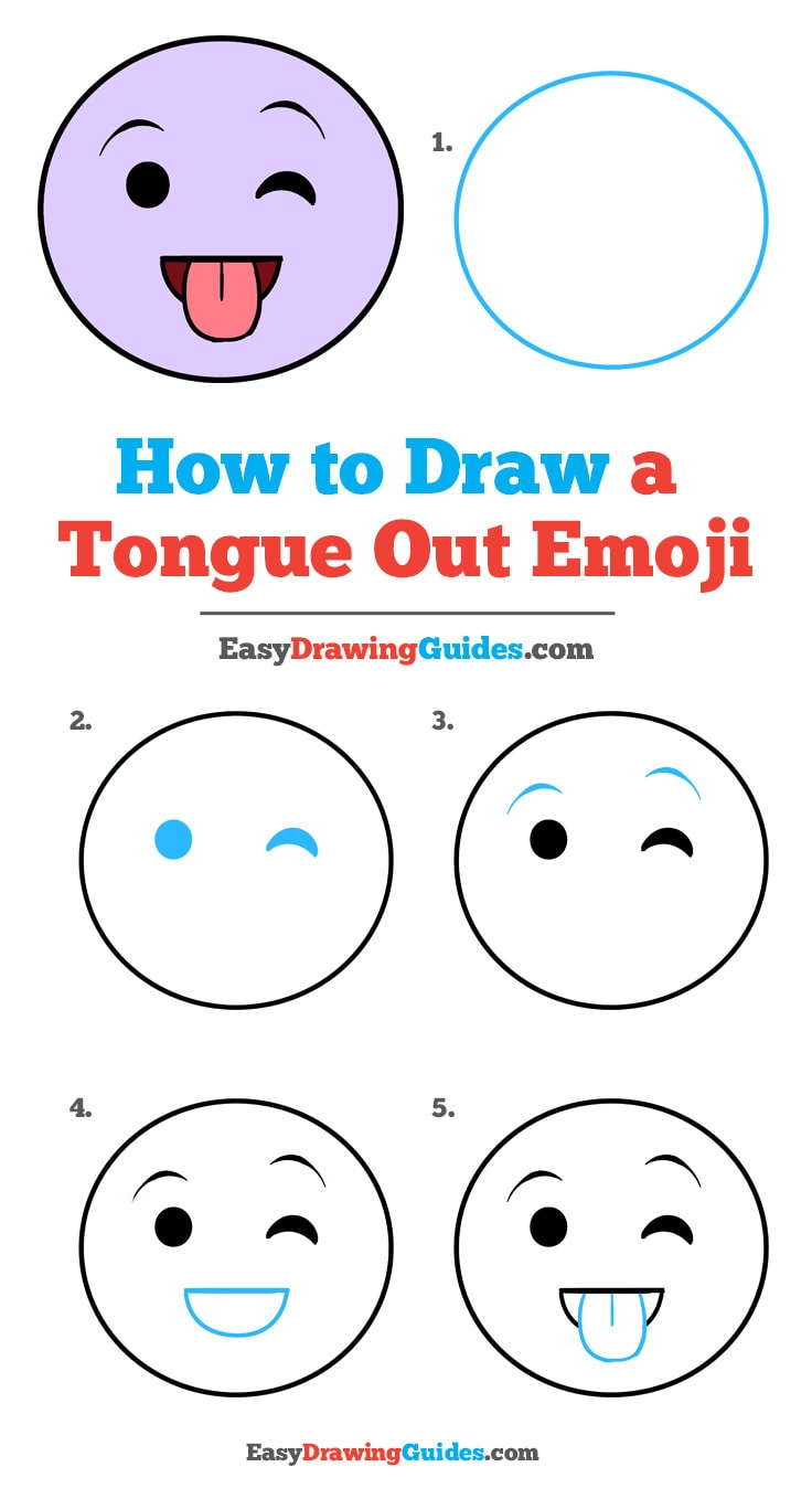 How to Draw a Tongue out Emoji: Step by Step Tutorial