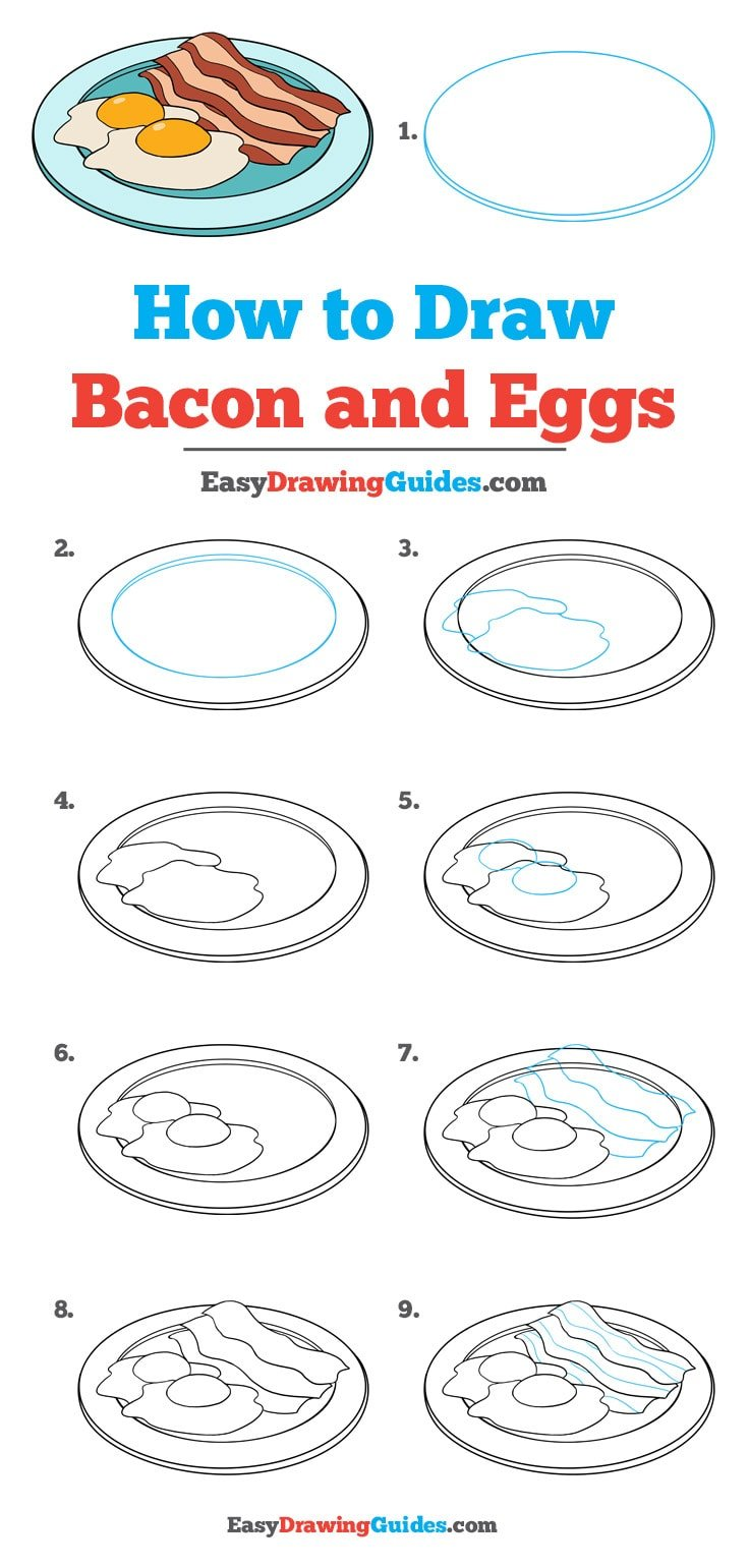 How to Draw Bacon and Eggs