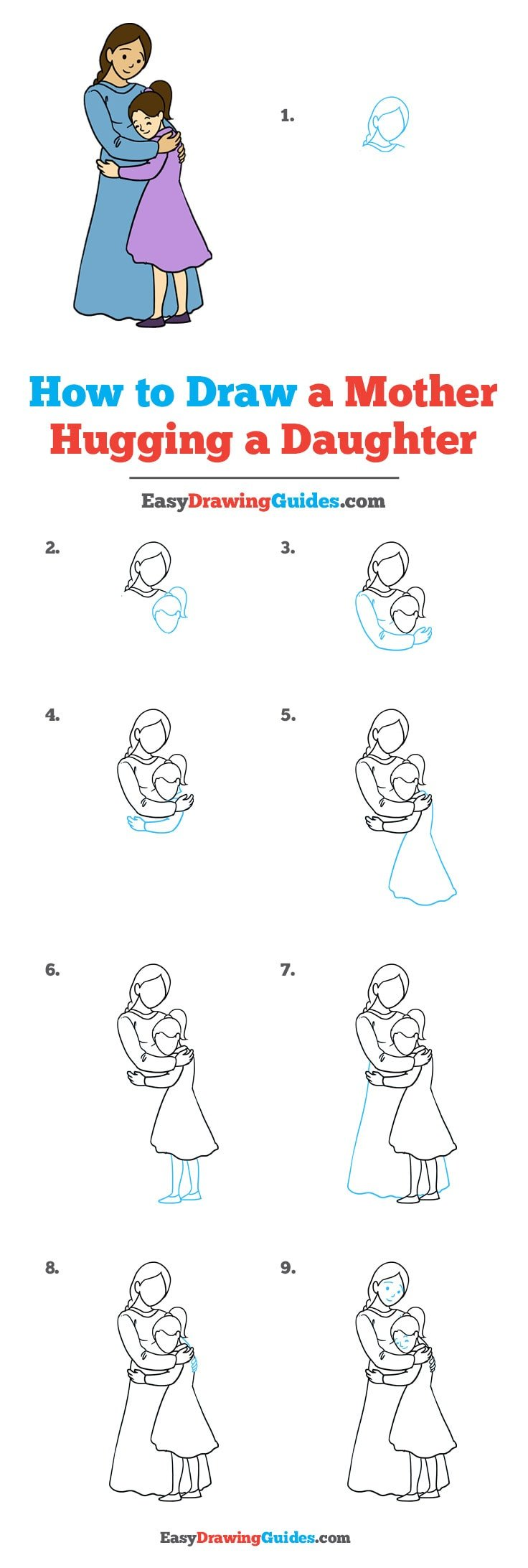 How to Draw Mother Hugging a Daughter