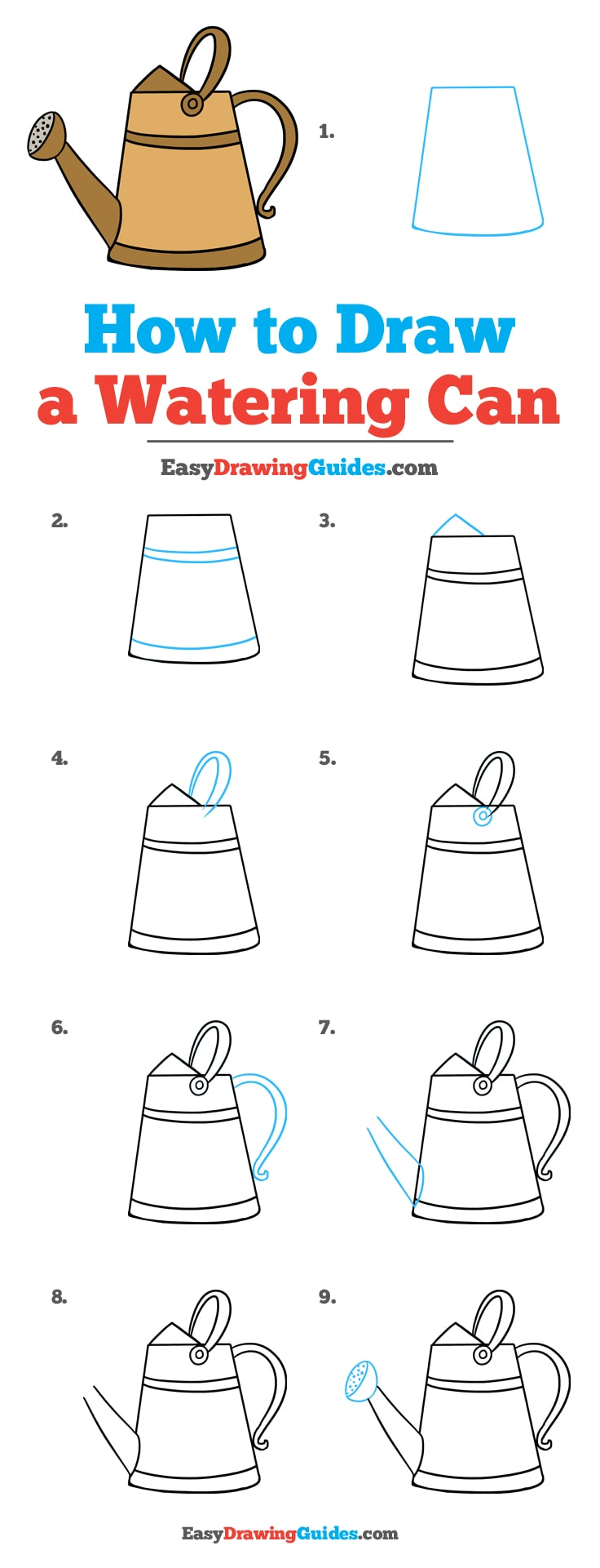 How to Draw a Watering Can: Step by Step Tutorial