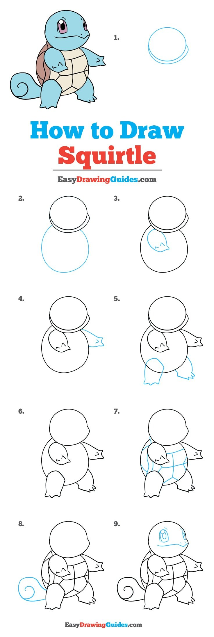How to Draw Squirtle Pokémon - Really Easy Drawing Tutorial