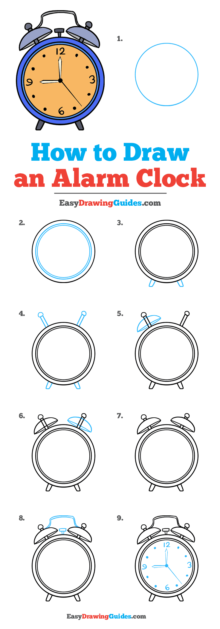 How to Draw an Alarm Clock: Step by Step Tutorial