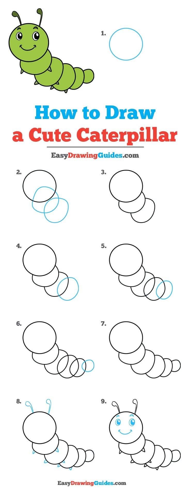 How to Draw Cute Caterpillar
