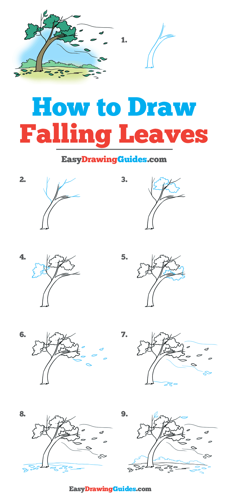 How to Draw Falling Leaves: Step by Step Tutorial