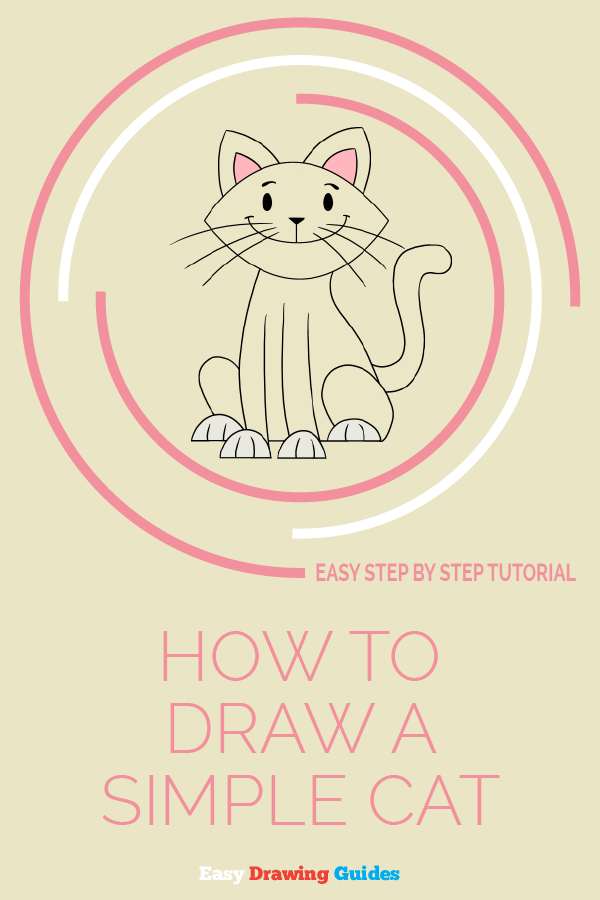 How to Draw Simple Cat | Share to Pinterest