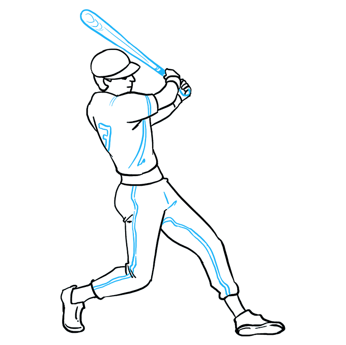 How to Draw Baseball Player Step 09