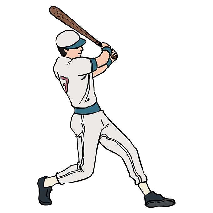 How to Draw Baseball Player Step 10