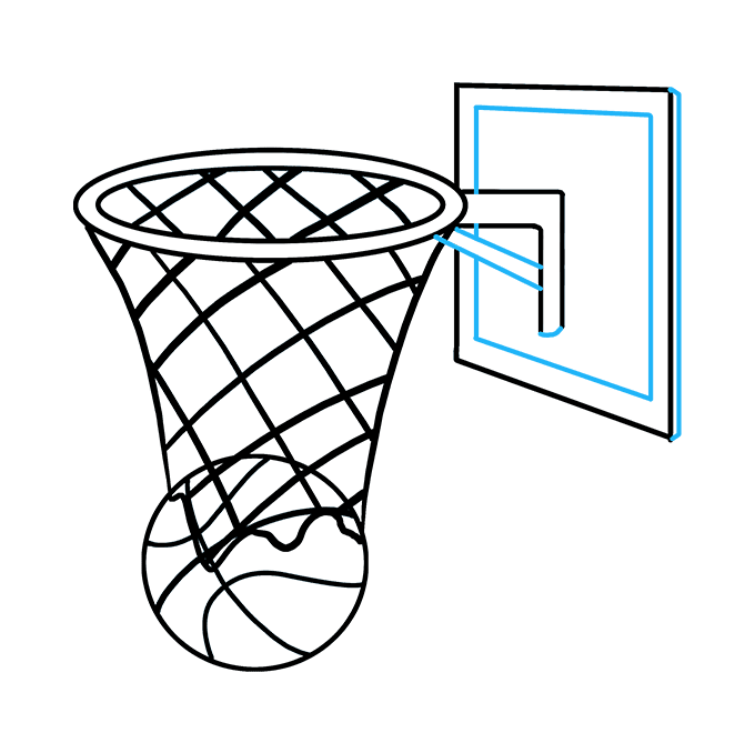 How to Draw Basketball Hoop: Step 9