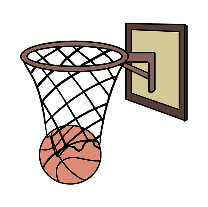 How to Draw Basketball Hoop: Step 10