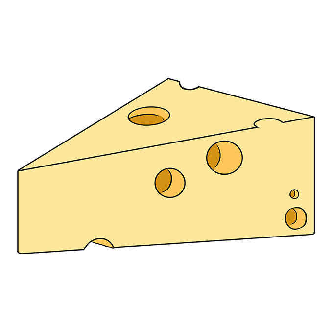 How to Draw a Cheese Step 10