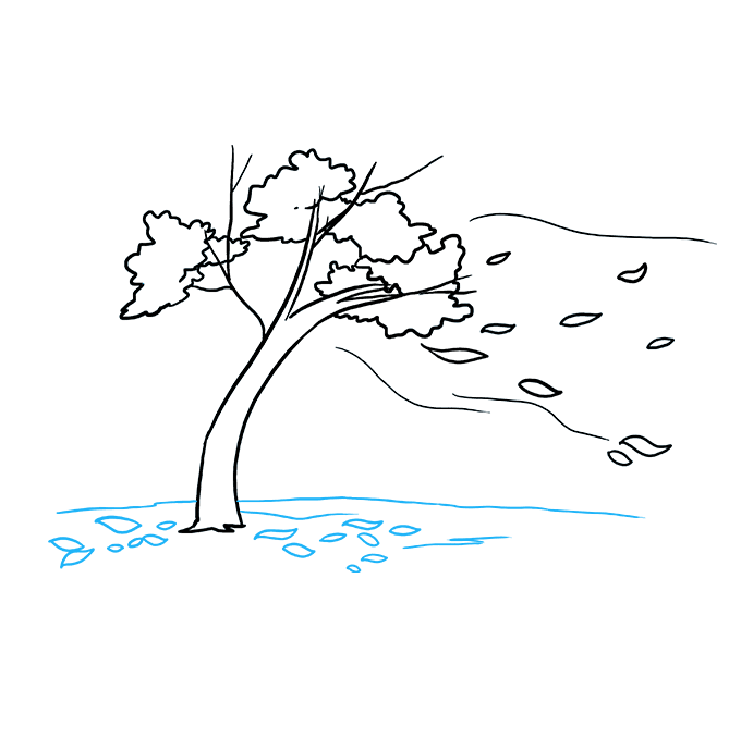 How to Draw Falling Leaves: Step 8