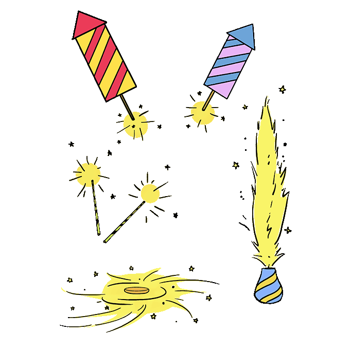 How to Draw Fireworks: Step 10