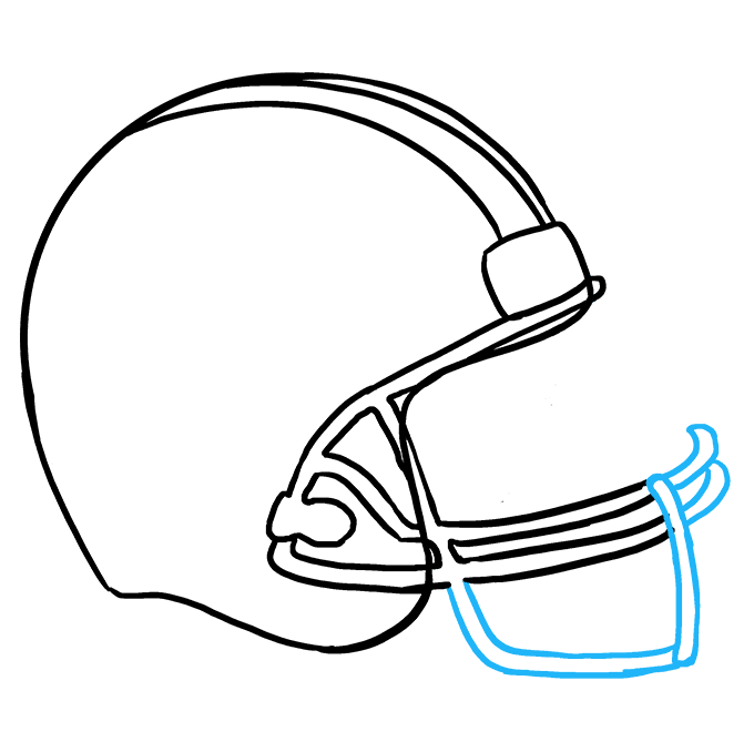 How to Draw Football Helmet Step 07