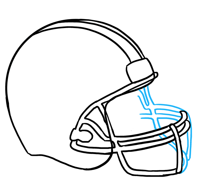 How to Draw Football helmet: Step 8