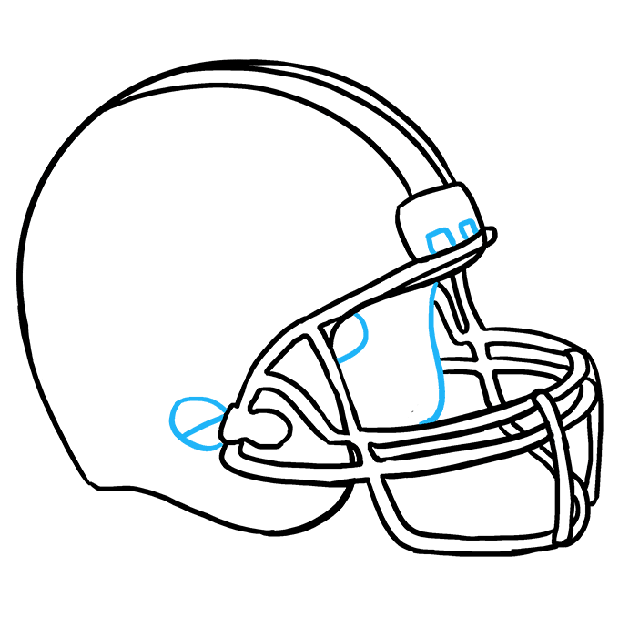 How to Draw Football Helmet Step 09