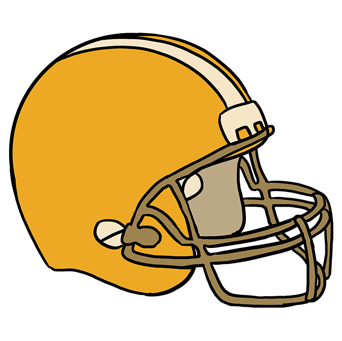 How to Draw Football helmet: Step 10